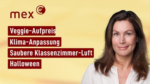 Moderatorin Claudia Schick sowie die Themen: Veggie-Aufpreis, Klima-Anpassung, Saubere Klassenzimmer-Luft, Halloween