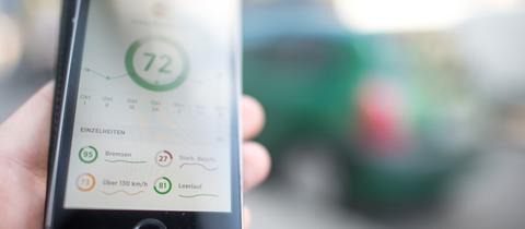 Die Nutzeroberfläche einer App, die Details zum Fahrprofil des Nutzers aufzeichnet.