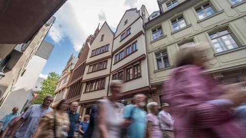 Touristen in der Frankfurter Altstadt