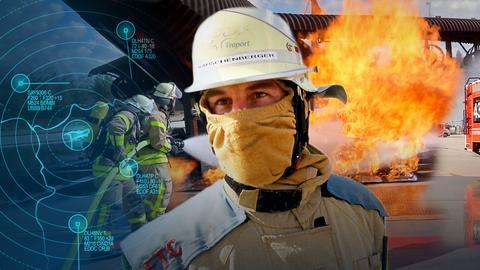 Bastian Haas von der Flughafen-Feuerwehr in voller Schutzmontur. Im Hintergrund löschen seine Kollegen ein Feuer.