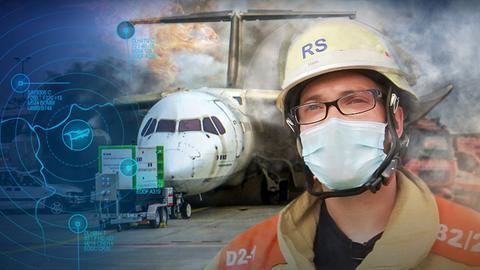 Mittendrin Flughafen: Großalarm am Flughafen. Eine Rettungskraft am Flughafen.