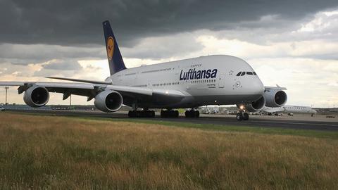 A380 auf dem Frankfurter Flughafen.