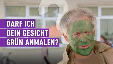 Strassen stars Kandidat mit grüner Farbe im Gesicht