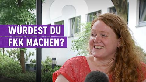 strassenstars-Kandidatin mit Schriftzug: Würdest du FKK machen?