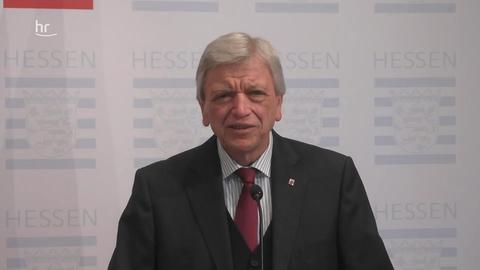 Pressekonferenz: Volker Bouffier über Beratung mit Bundeskanzlerin