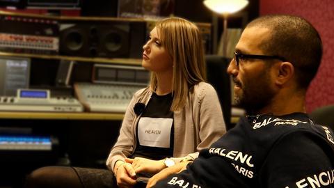 Rapper Hassan Annouri mit Schlagersängerin Marilena Kirchner im Tonstudio