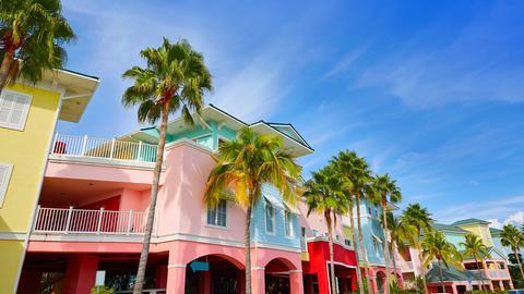 Bunte Häuser und Palmen unter blauem Himmel