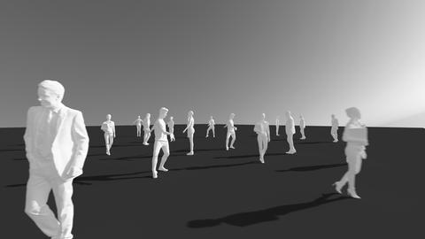 Die Illustration zeigt etwa 20 Personen, die sich Abstand zueinander halten.