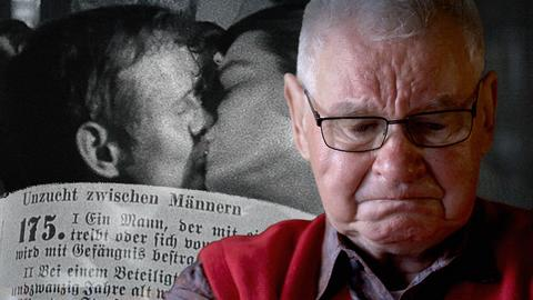 Bildcollage: Ein schwarz-weiß Foto zweier sich küssender Männer, ein Gesetzesauszug mit dem Paragrafen 175 und einer der Protagonisten im Vordergrund