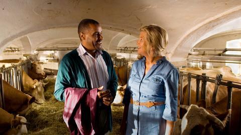 Elli (Jutta Speidel) und ihre neue Bekanntschaft Raymond (Christofer von Beau) verstehen sich auf Anhieb blendend.