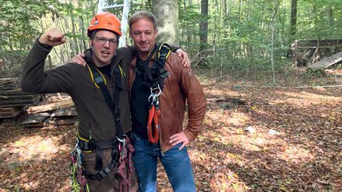 Tobi Kämmerer (rechts) mit Simon Karl vom Team Kletterwald Wetzlar.