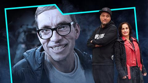 Heike Borufka und Basti Red Rücken an Rücken auf dem Titelbild, im Hintergrund ein Portrait von Jens Söring.