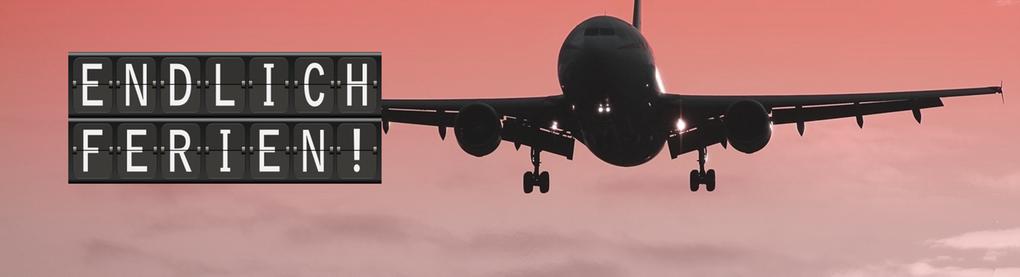 """""""Endlich Ferien"""" - ein Flugzeug fliegt in den Sonnenuntergang"""