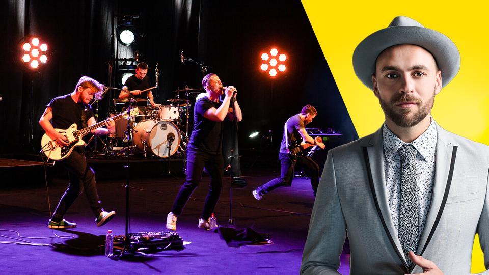 Collage von Host Max Mutzke und Band Bazu:ka auf der Bühne in Aktion.