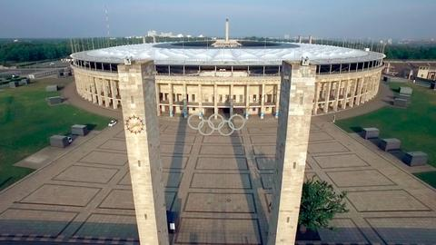 Das Berliner Olympiastadion aus der Vogelperspektive.