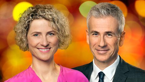 Kristin Gesang und Andreas Hieke moderieren den Jahresrückblick im hr-fernsehen.