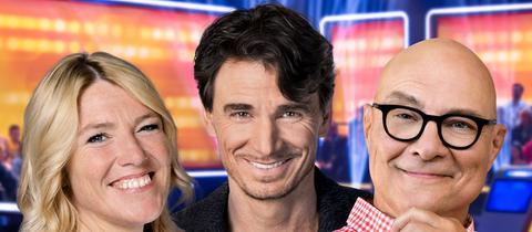 Die Radiostars Thomas Koschwitz (rechts) von hr 1, Tanja Rösner von hr3 und Uwe Becker von hr4 wollen es wissen: Wer schlägt sich am besten durch das Jahr 2018?