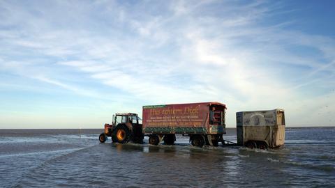 Ein Traktor mit Anhänger auf dem Wattmeer