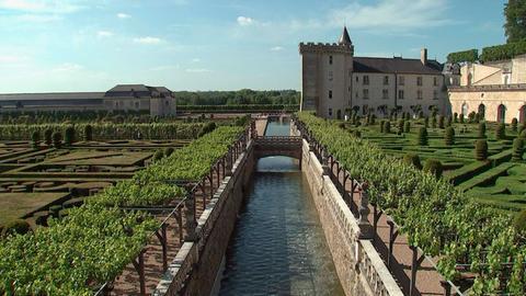 Der terrassenförmig angelegte Renaissance-Garten von Schloss Villandry in der Region Centre Val de Loire.