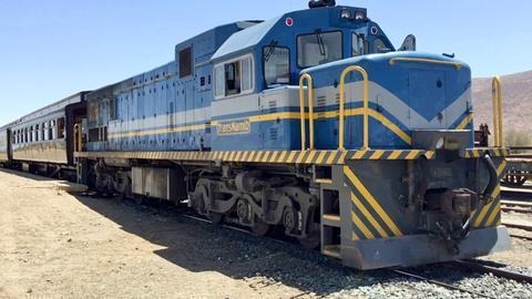 """Die Lokomotive des historischen Sonderzugs """"African Explorer"""""""