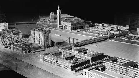 Modellansicht der Donauuferbebauung mit Blick auf das geplante Gauforum, Februar 1945