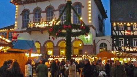 Blick auf den Seligenstädter Adventsmarkt.