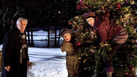 Ruprecht Welser (Henry Hübchen), Johanna Welser (Jutta Speidel) und Ellie Pietschek (Gesine Cukrowski, r.) klauen einen Weihnachtsbaum.