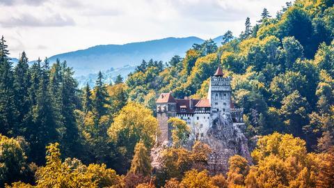 Burg in Siebenbürgen auf einem Felsen mitten im Wald.