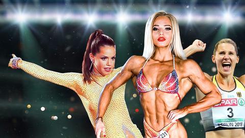 Collage aus den Protagonistinnen Lena Ramsteiner, Caroline Schäfer und Christina Luft. Lena Ramsteiner posiert als Bodybuilderin in der Mitte, die beiden anderen sind als Porträts links und rechts zu sehen