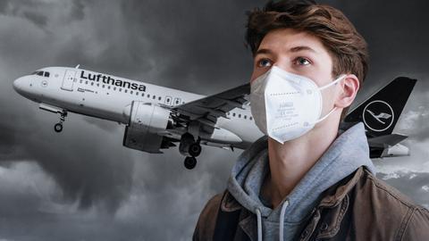Protagonist Luka schaut nach oben. Im schwarzweißen Hintergrund steigt eine Lufthansa-Maschine in den Himmel.