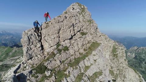 Bergsteiger am Hindelanger Klettersteig.