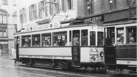 Kasseler Straßenbahn der Linie 1, 1937.
