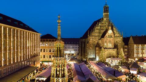 Blick auf den Nürnberger Christkindlesmarkt.