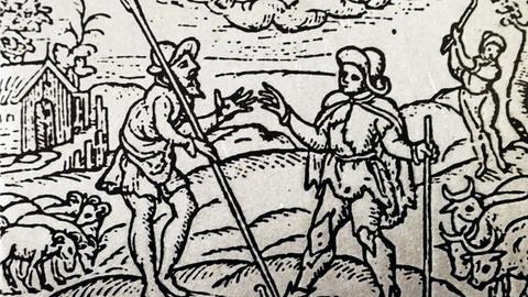 Eine Zeichnung aus dem 13. Jahrhundert zeigt Bauern mit ihren Tieren.