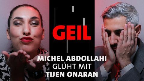 Tijen Onaran und Michel Abdollahi auf der ARD Bühne der Frankfurter Buchmesse 2021. Text: Michel Abdollahi glüht mit Tijen Onaran.