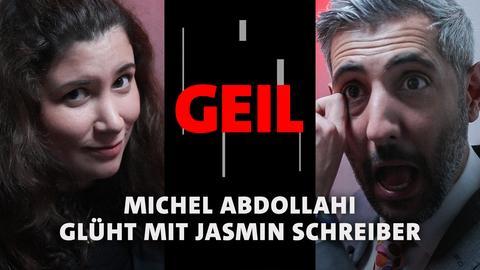 Michel Abdollahi und Jasmin Schreiber auf der ARD Bühne der Frankfurter Buchmesse 2021. Text: Michel Abdollahi glüht mit Jasmin Schreiber.