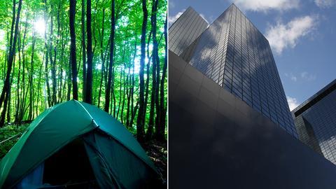 Aussteiger trifft Aufsteiger - Zelt und Skyline