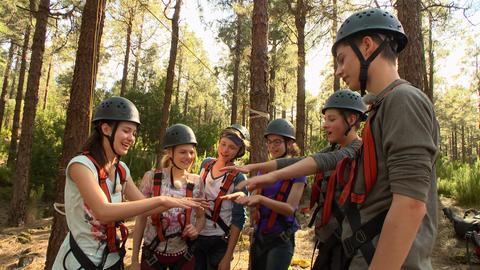 Die sechs Jugendlichen stehen im Kletterwald und halten ihre Hände aneinander.