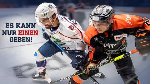 Zwei Eishockeyspieler als Gegner im Duell auf dem Eis. Text: Es kann nur einen geben!