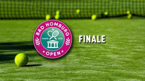 Grüner Tennisplatz mit Tennisball. Text: Finale.