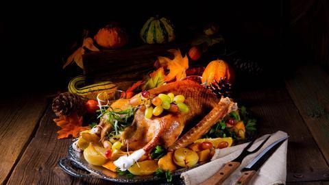 Gebratene Ente mit Trauben garniert und vor Kürbissen drapiert.