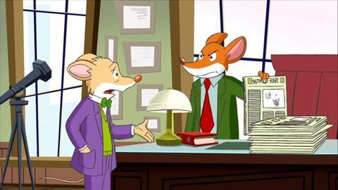 Zwei Mäuse in einem Büro.