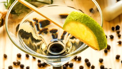 Cocktailglas mit Gin Tonic und einer halben Limettenscheibe. Auf dem Boden liegen Wacholderbeeren verteilt, im Hintergrund ein Zweig Rosmarin.