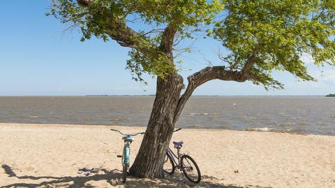 Zwei Fahrräder am Strand von Rio de la Plata zwischen Argentinien und Uruguay