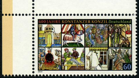 Briefmarke mit Abbildungen des Konstanzer Konzil.
