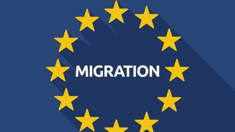 Europa-Flagge mit Migrationsschriftzug