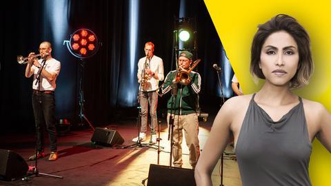 Collage mit Bühne frei!-Host Sabrina Setlur und Band Banjoory.