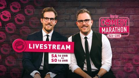 Dennis und Benni Wolter von World Wide Wohnzimmer moderieren den hr Comedy Marathon 24 Stunden lang – live.