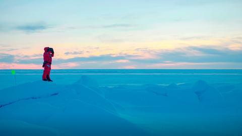 Die Bärenwächterin Saga Savarsdoóttir bei ihrer Arbeit auf der Eisscholle