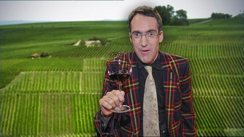 Weinkritiker Stuart Pigott mit einem Glas Rotwein vor einem Weinberg.